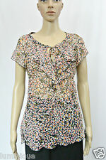 **MARCS** 100% Silk Floral Blouse Ruffled Keyhole Neckline 10 S Tie Tiered