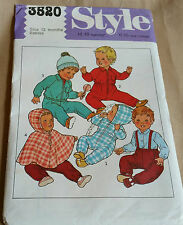Retro 1981 Style 3520 Sewing Pattern Babies All in one suit Jacket Cape Pants