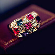 Fashion Gold Plated Austria Colorful Crystal Women Jewelry Rhinestone CZ Ring
