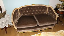 2 Boudoir Antique Gold Leaf Chaise Longue Sofa Double  and marble top table
