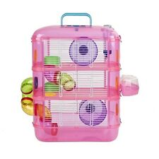 XPet Hamster & Gerbil 3 Storey Tier Pink Cage With Tubes  Brand New
