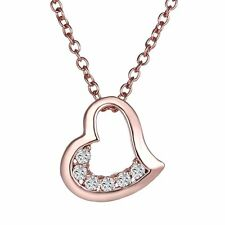 Fashion Love Heart Rhinestone Rose Gold Chain Necklace Pendant Chunky Jewellery
