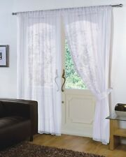 PAIR - VOILE NET PANELS SLOT TOP 59'' X 90'' CURTAINS - WHITE