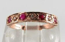 CLASSIC 9CT 9K ROSE GOLD RUBY & DIAMOND ETERNITY RING FREE RESIZE