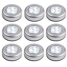 Set of 9 Round LED Battery Operated Stick On Under Cabinet Cupboard Push Lights