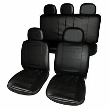 UNIVERSAL BLACK HEAVY DUTY LEATHER LOOK CAR  SEAT COVERS SET AIR BAG FRIENDLY