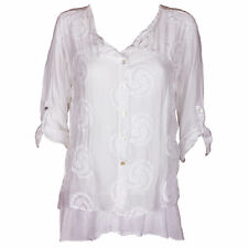 Lagenlook Italian Gorgeous White Silk & Lace Embroidered One Size Blouse/Tunic