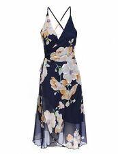 """DEENA"" BEAUTIFUL LADIES SIZE L-12 NAVY BLUE FLORAL CHIFFON WRAP SUMMER DRESS"