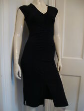 M & S - AUTOGRAPH - Long Black Stretch  Dress with Ruched Front New- size 8- NEW