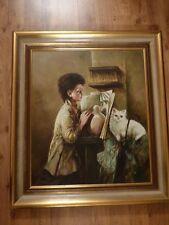 altes großes Gemälde edler Holzrahmen Halberg Mädchen mit weißer Katze Ölgemälde