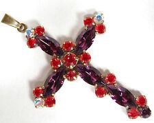 SoHo® Anhänger Kreuz mit Kristall Strass navette amethyst light siam lila rot