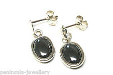 9ct White Gold Hematite Drop earrings Made in UK Gift Boxed