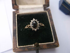 Women's Vintage Gold Ring Sapphire & Diamonds Size N weight 1.5g Quality Ring