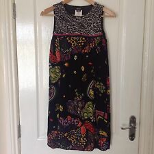 LADIES 'MISS SIXTY' BLACK/ MULTI FLORAL TUNIC DRESS. SIZE XS/ 8. GOOD CONDITION.