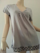 WITCHERY grey cotton blend v-neck top t-shirt argyle trim size M BNWT