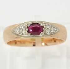 ♦♦ Diamant Ring in 585 14kt Rosé Weiß Gelb Gold mit Rubin Rubinring  Diamantring