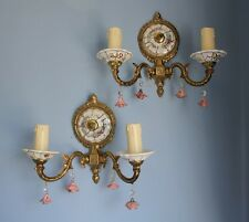 A PAIR  OF VINTAGE ITALIAN ANTIQUE STYLE BRASS & CERAMIC DOUBLE WALL LIGHTS