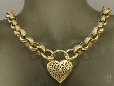 L05 Genuine 9ct 9K Yellow Gold Day & Night Belcher PADLOCK Heart Necklace 45cm