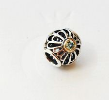 "Genuine Pandora two tone Charm ""Vintage Lace"" with Green Spinel - 791173SSG"