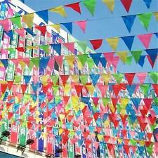 2*  Colorful Bunting Flags Wedding Outside Banner Polyester Fabric Material Hot