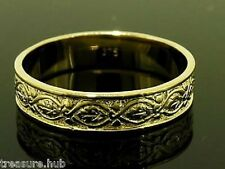 R019 GENUINE Solid 9K Yellow GOLD Etched Vintage Wedding Band Ring size S
