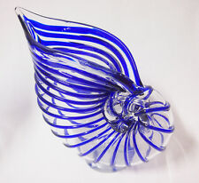 Art Glass conch shaped Vase home decora Blue with Clear Brand New 28cm*27cm