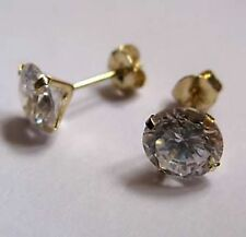 6mm Round Cubic Zirconia 9Ct Gold Stud Earrings