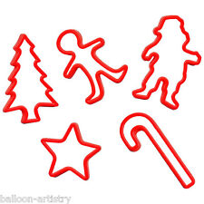 5 Christmas Festive Party Santa Star Tree RED Plastic Biscuit Cookie Cutters