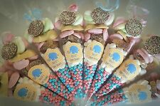 Pre filled BABY SHOWER sweet cones party bags pink blue neutral PERSONALISED