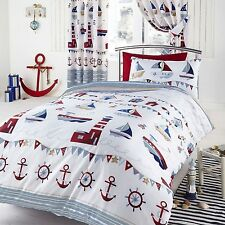 NAUTICAL WHITE BOATS SEA SHIPS SINGLE DUVET COVER BEDDING SET