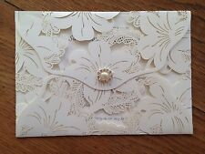 Personalised Wedding Invitations Wallet Envelope Vintage Style Lace Laser Cut