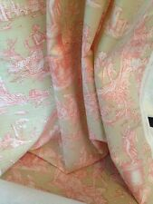 "Natural Pink  Toile De Jouy Linen Weave Ready Made Curtains 100"" x 72"" Wide"