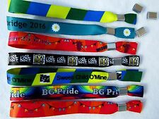 200 Personalised Fabric Wristbands, Printed with Your Image or Text,Metal Clip