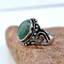 Size 9 Silver Green Gemstone Band cocktail Ring Statement Women punk jewelry