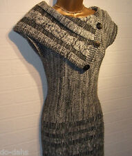 JANE NORMAN Silver Grey Tweed Cable Knit Shawl Collar Long Jumper Dress Size 12