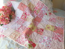 PiNK ROSES* BABY HAND QUILT BLANKET THROW ~Laura Ashley~Shabby Chic~Cath NEW!