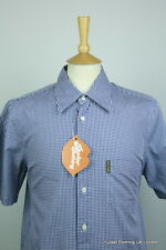 ARMANI MENS SHIRT MEDIUM SLIM AJ CHAMBRAY CHECK ITALIAN SHORT SLEEVE EXCELLENT