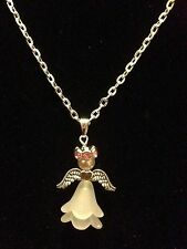 """Guardian Angel Pendant 18"""" Necklace With Pink Rhinestone Halo, Silver Plated"""