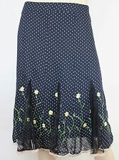 Review black & white spot chiffon skirt with embroidered/lace hem - AS NEW - 8