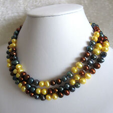 """49"""" 7-8mm Multi Color Freshwater Pearl Strand Necklace Jewelry UK"""
