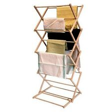 Wooden Folding Clothes Airer Laundry Horse Concertina Cloth Dryer Indoor Outdoor