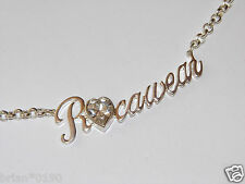 ROCAWEAR White Gold & Diamonique Necklace; Brand New and within a Branded Pouch