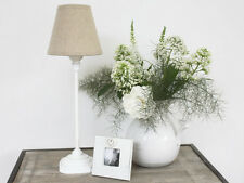 SHABBY CHIC FRENCH WHITE VINTAGE ANTIQUE BEDSIDE LAMP BASE LINEN SHADE CHRISTMAS