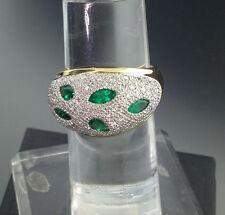 *TIGER´S EYE*SMARAGD BRILLANT Ring 0.66/0.58 ct 750er Gold-PLATIN SW 2.430.-Eur