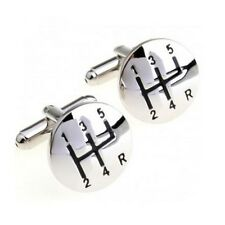 Polished Stainless Steel Gear Stick Cufflinks - Gift for Car Lovers
