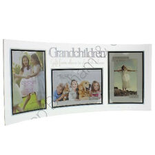 GRANDCHILDREN CURVED GLASS TRIPLE PHOTO PICTURE FRAME COLLAGE HOME MANTEL STAND