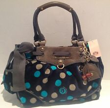 NWT Juicy Couture Genuine Navy Blue Velour & Grey Leather Hand Bag With Key Fob