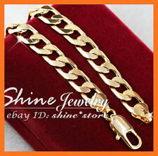 18K YELLOW GOLD FILLED CURB RINGS CHAIN MENS GIFT SOLID ITALIAN BRACELET BANGLE