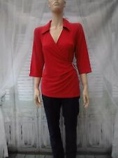 Kaleidoscope 3/4 sleeve  front wrap red jersey top size  UK 18