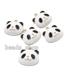 10x Black &White Gold Plated Alloy Enamel Panda Head Beading Charms Pendants BS
